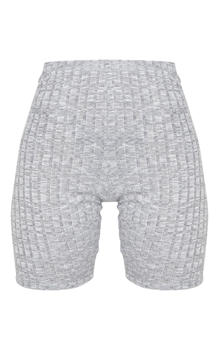 Grey Ribbed Knitted Bike Shorts 6