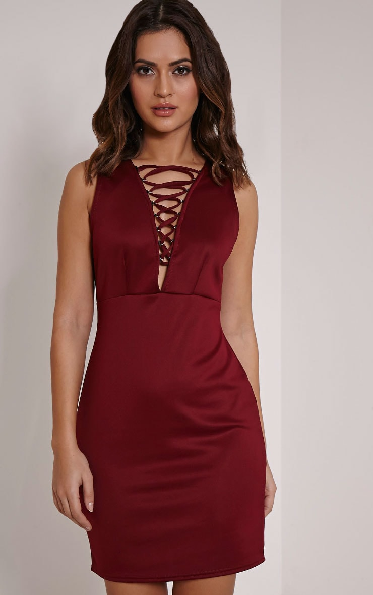 Joda Wine Scuba Lace Up Mini Dress 1