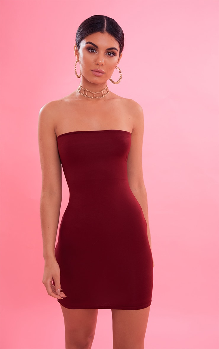 Burgundy Bandeau Bodycon Dress 2