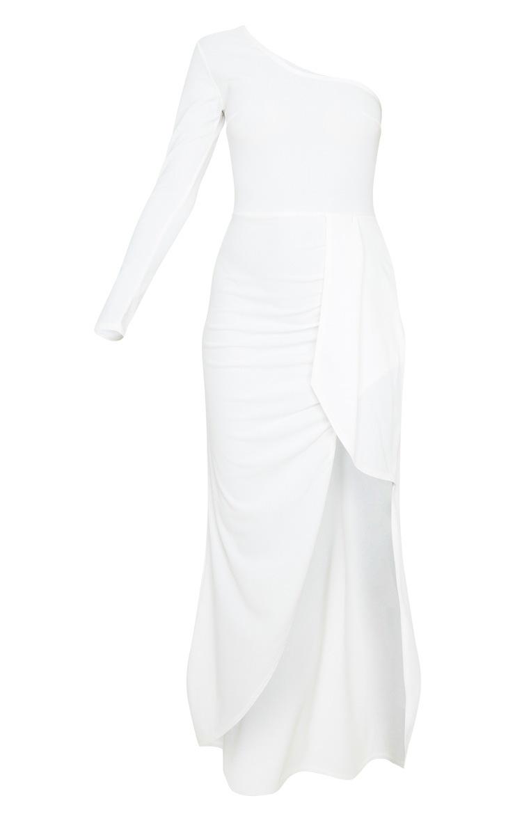 White One Shoulder Drape Skirt Maxi Dress 3