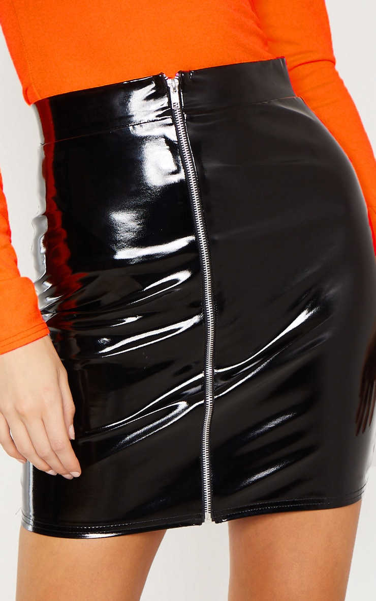Tall Black Vinyl Zip Skirt 6
