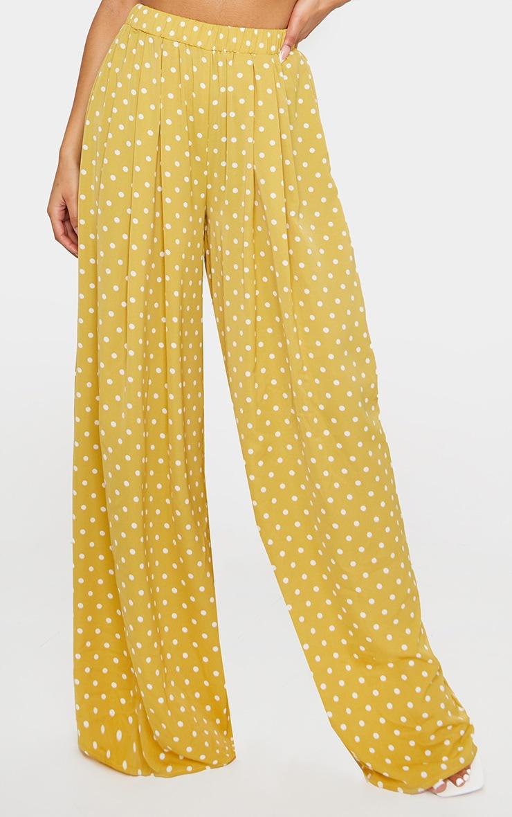 Mustard Polka Dot Print Wide Leg Trousers 2
