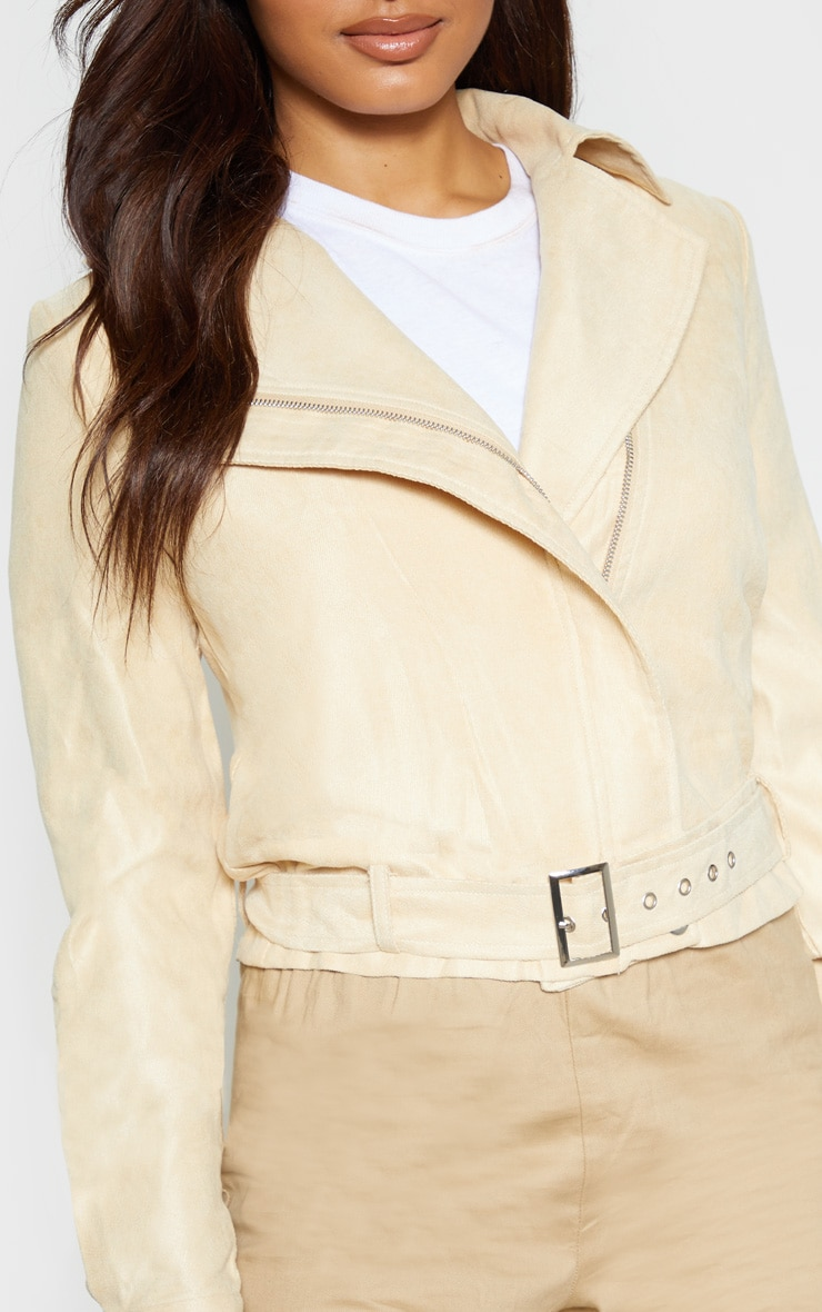 Tall Cream  Biker Zip Up Jacket 5