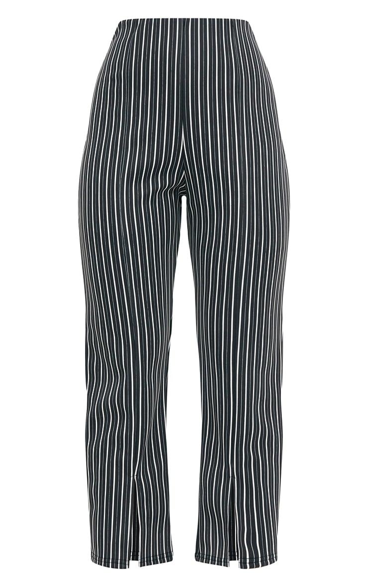 Black Stripe Front Split Straight Leg Trousers 3