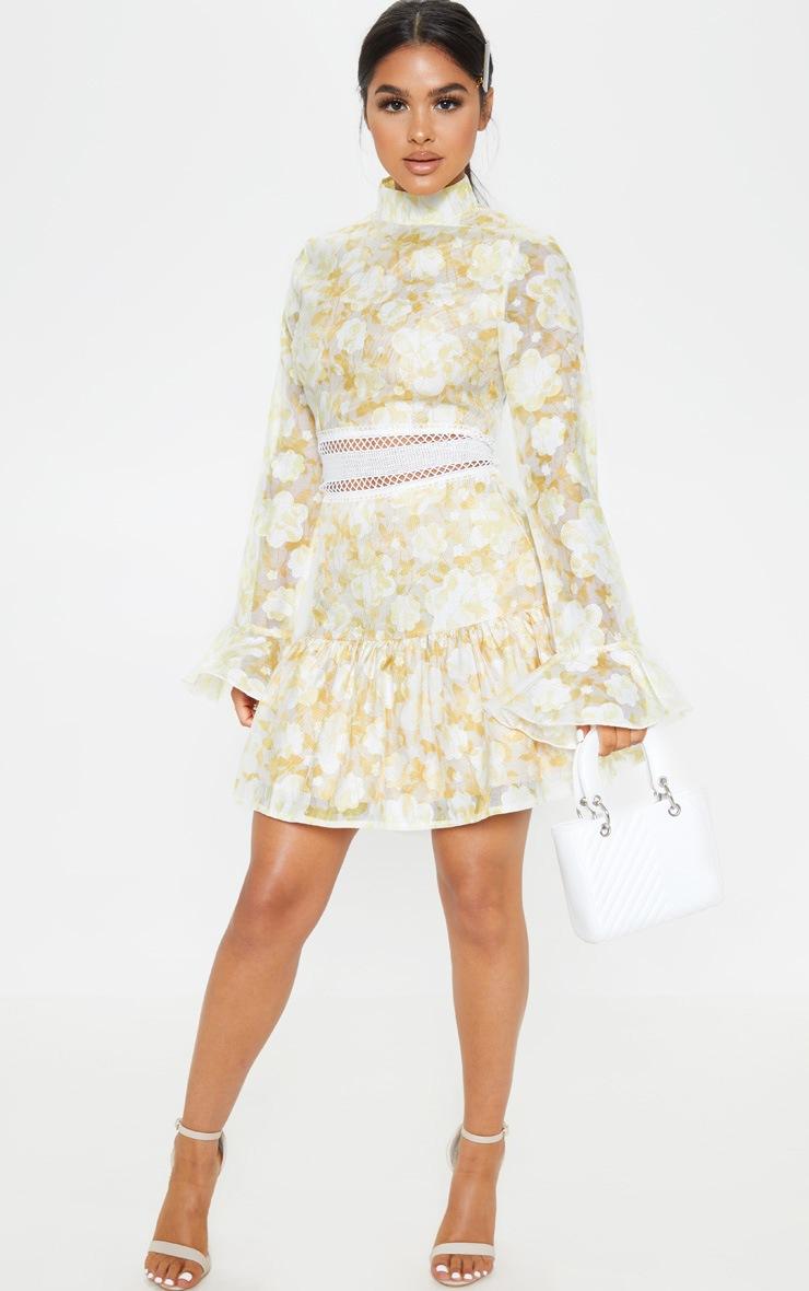 Petite Lemon Yellow Floral Flare Sleeve High Neck Frill Hem Dress 4