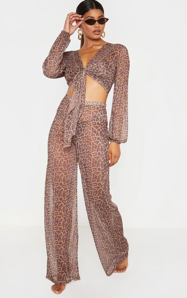Tall Brown Leopard Print Sheer Trousers 1