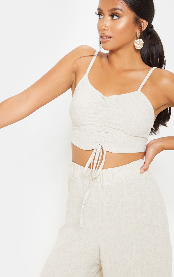 Petite Stone Ruched Front Strappy Crop Top 4