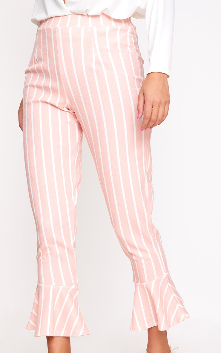 Blush Striped Flare Hem Trousers 4