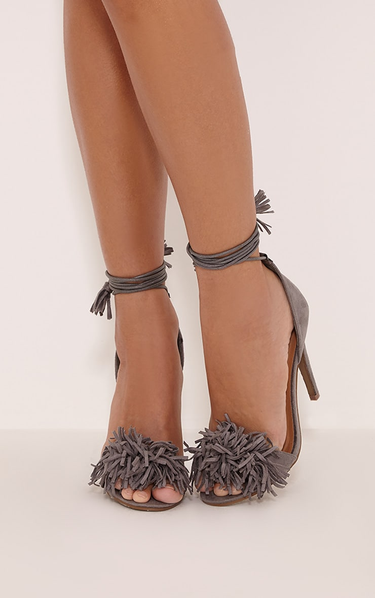 Bena Grey Faux Suede Fringe Sandals 1