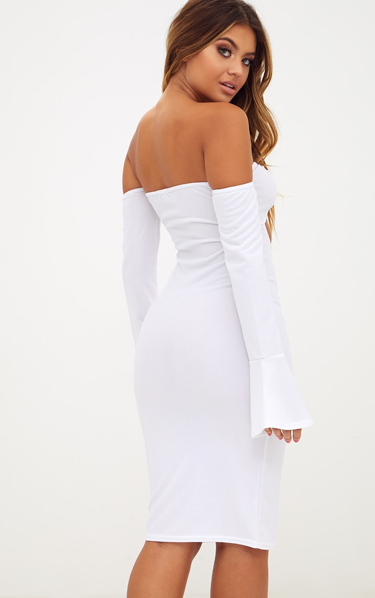 White O-Ring Cut Out Bell Sleeve Midi Dress 2