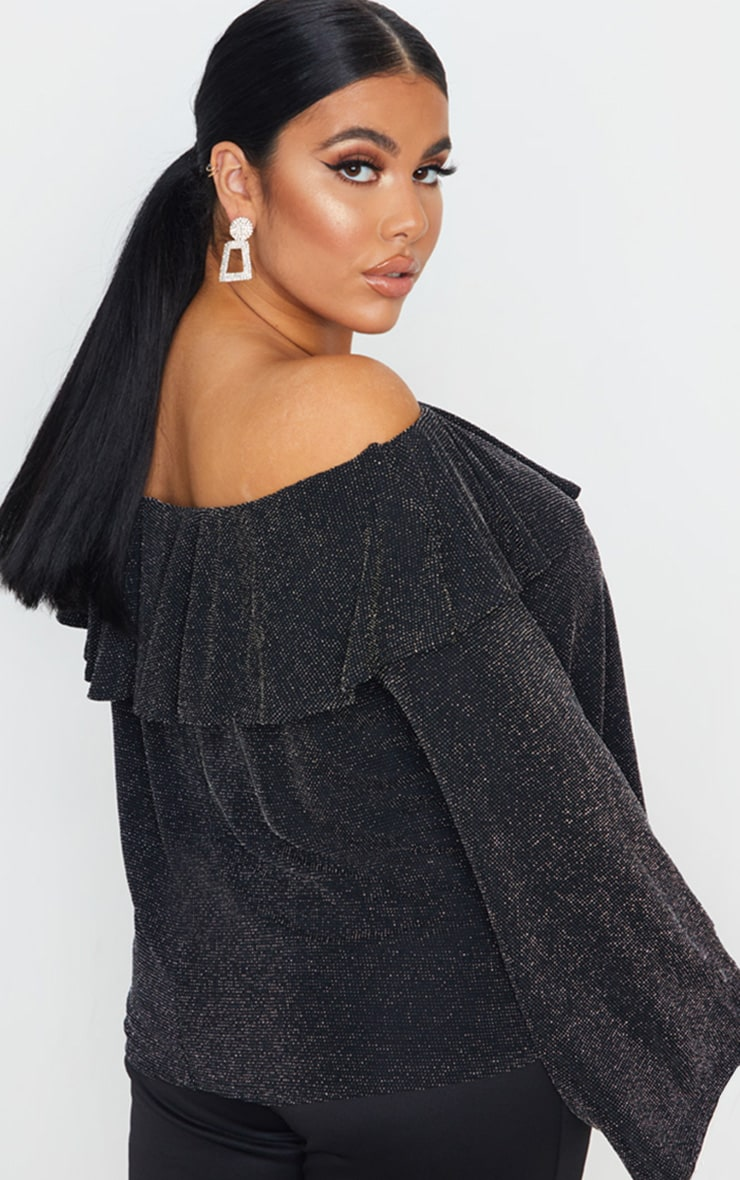 Plus Silver Glitter Bardot Frill Detail Top 2