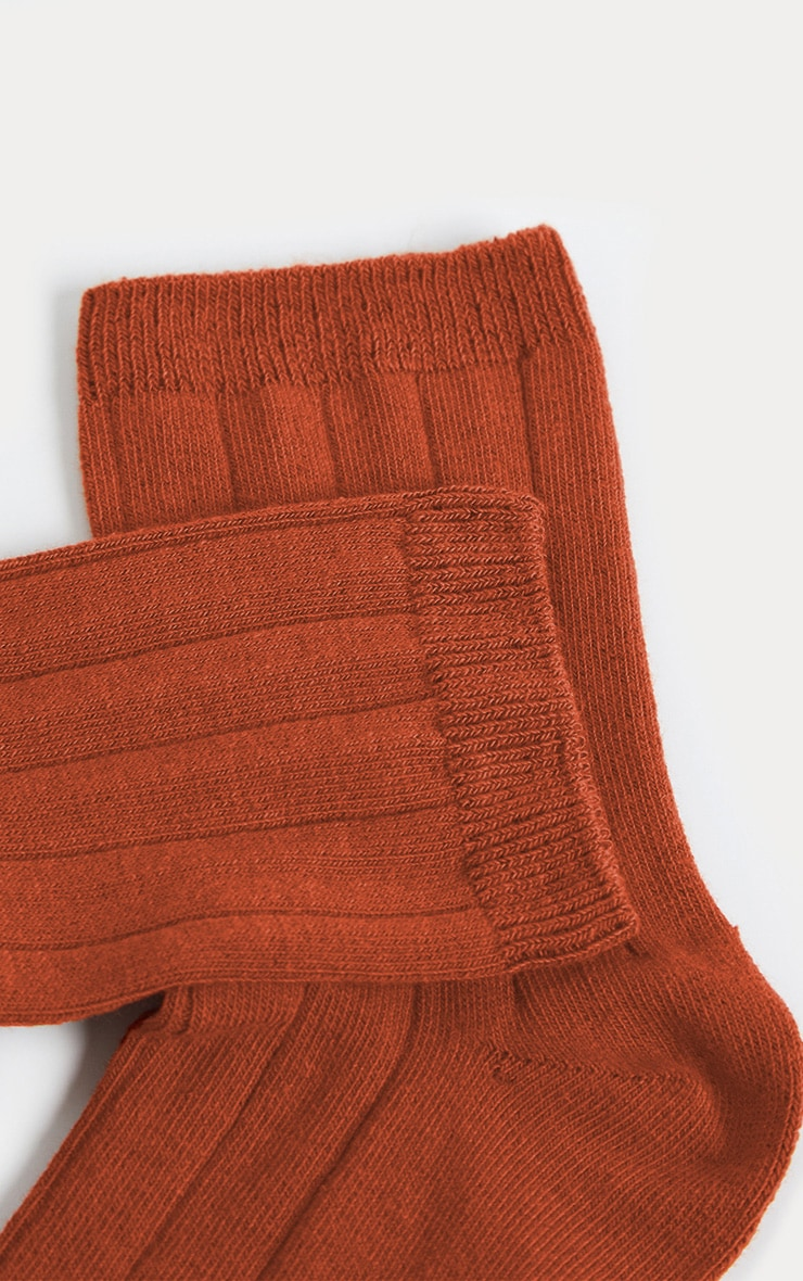 Rust Ribbed Ankle Socks 4