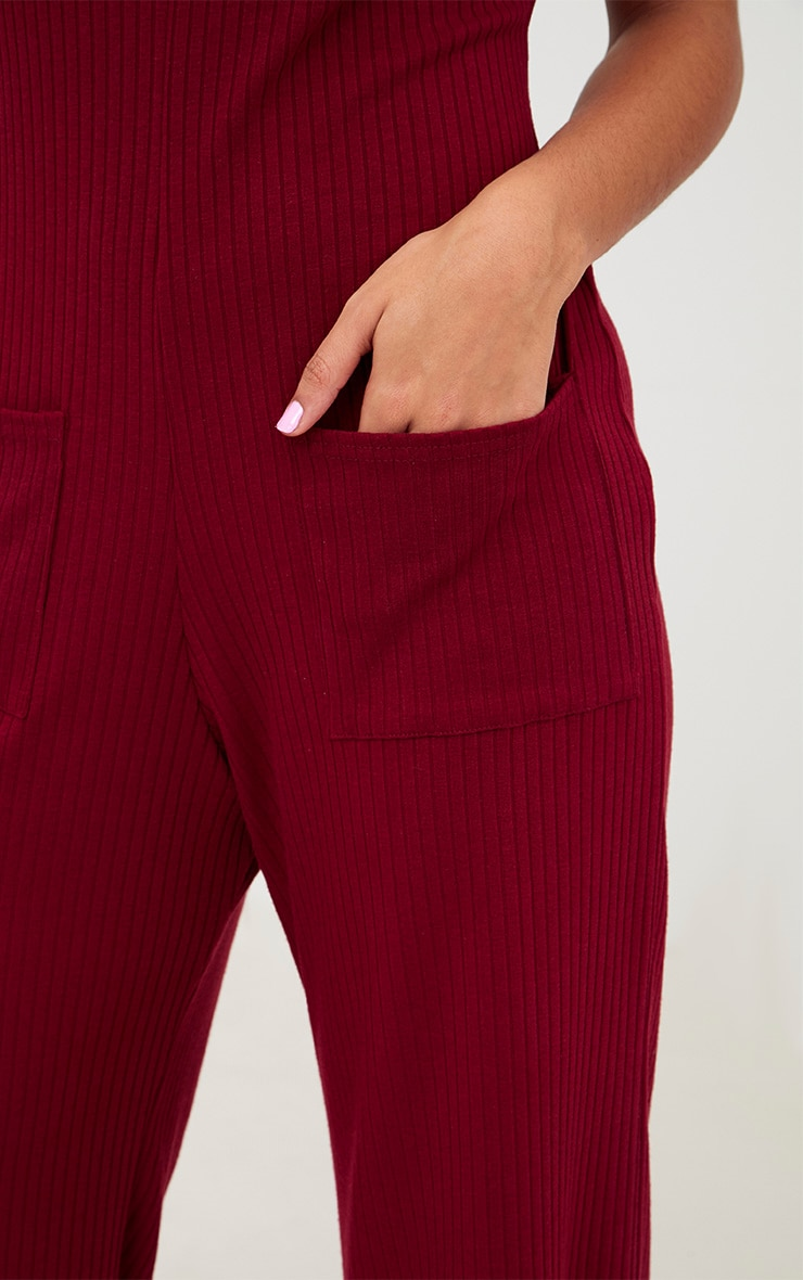 Burg Short Sleeve Ribbed Culottes' Pocket Jumpsuit 5