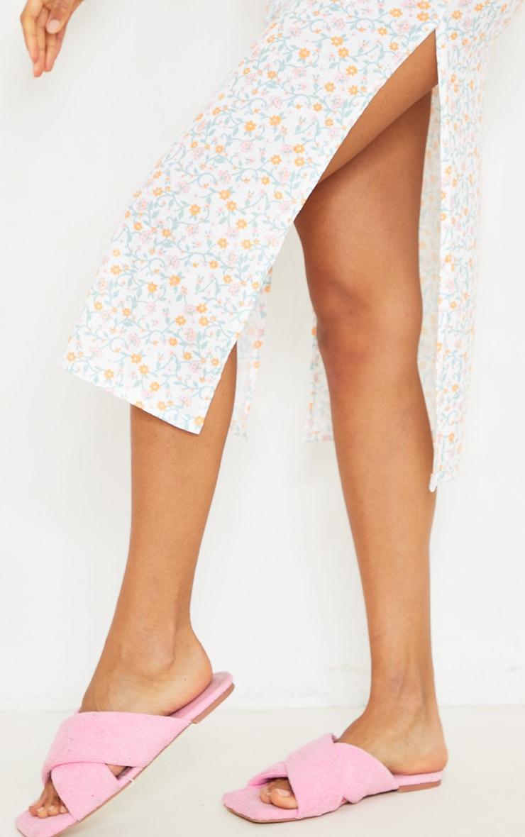 Cream Ditsy Print Jersey Split Cami Midi Dress 4
