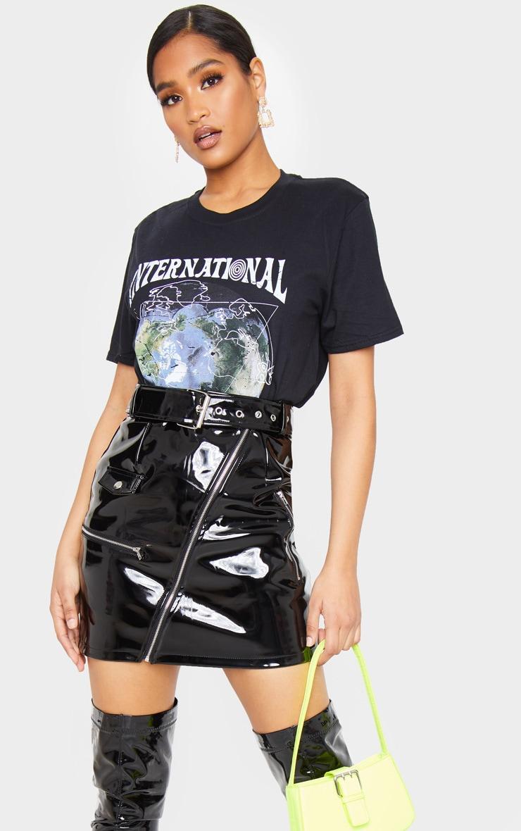 Black Vinyl Biker Belted Mini Skirt 5