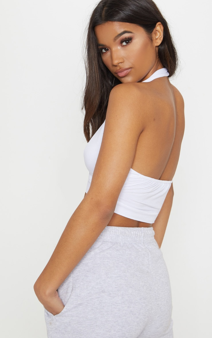 White Halterneck Jersey Crop Top  2