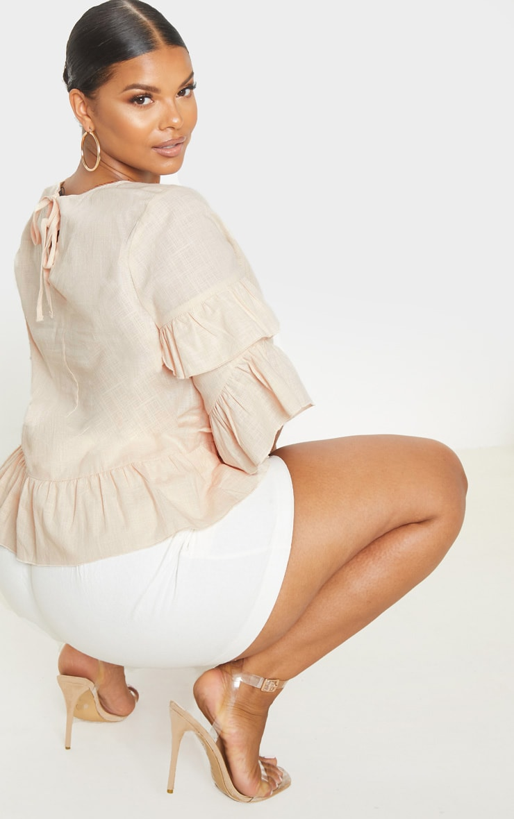 Plus Nude Woven Frill Sleeve Blouse 2