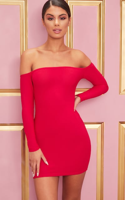 9f630da2a9 Red Choker Detail Bardot Bodycon Dress