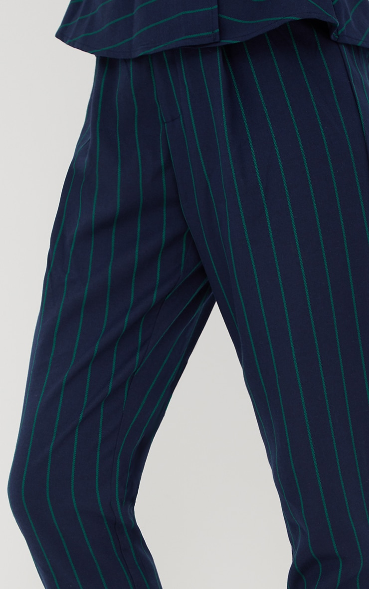 Navy Pinstripe Tailored Trousers 5