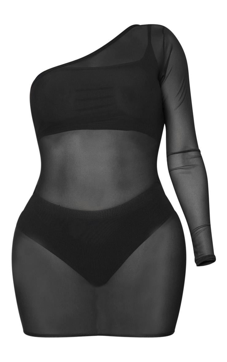 Shape Black Mesh Sheer One Shoulder Bodycon Dress 5