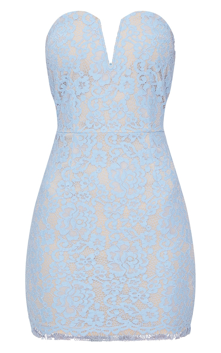 Dusty Blue Bandeau Lace V Bar Bodycon Dress 3