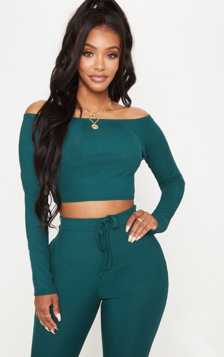 Shape Emerald Green Ribbed Bardot Long Sleeve Crop Top 1