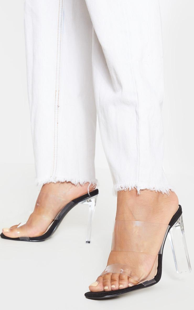 Black Clear Heel Twin Strap Clear Mule 1