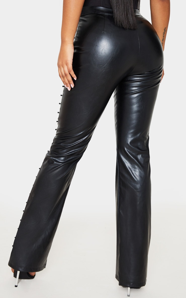 Black Beaded Side Faux Leather Flared Trouser 5