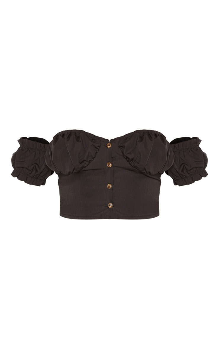 Black Ruched Cup Button Up Short Sleeve Crop Top 3