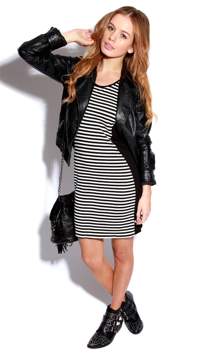 Donna Black & White Stripe Bodycon Dress 3