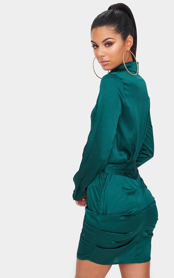 Emerald Green Ruched Front Shirt Dress 2