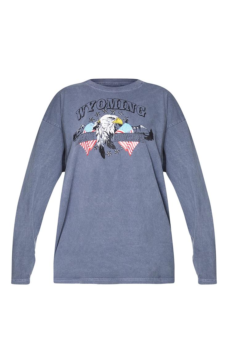 Black Wyoming Printed Washed Long Sleeve T Shirt 5