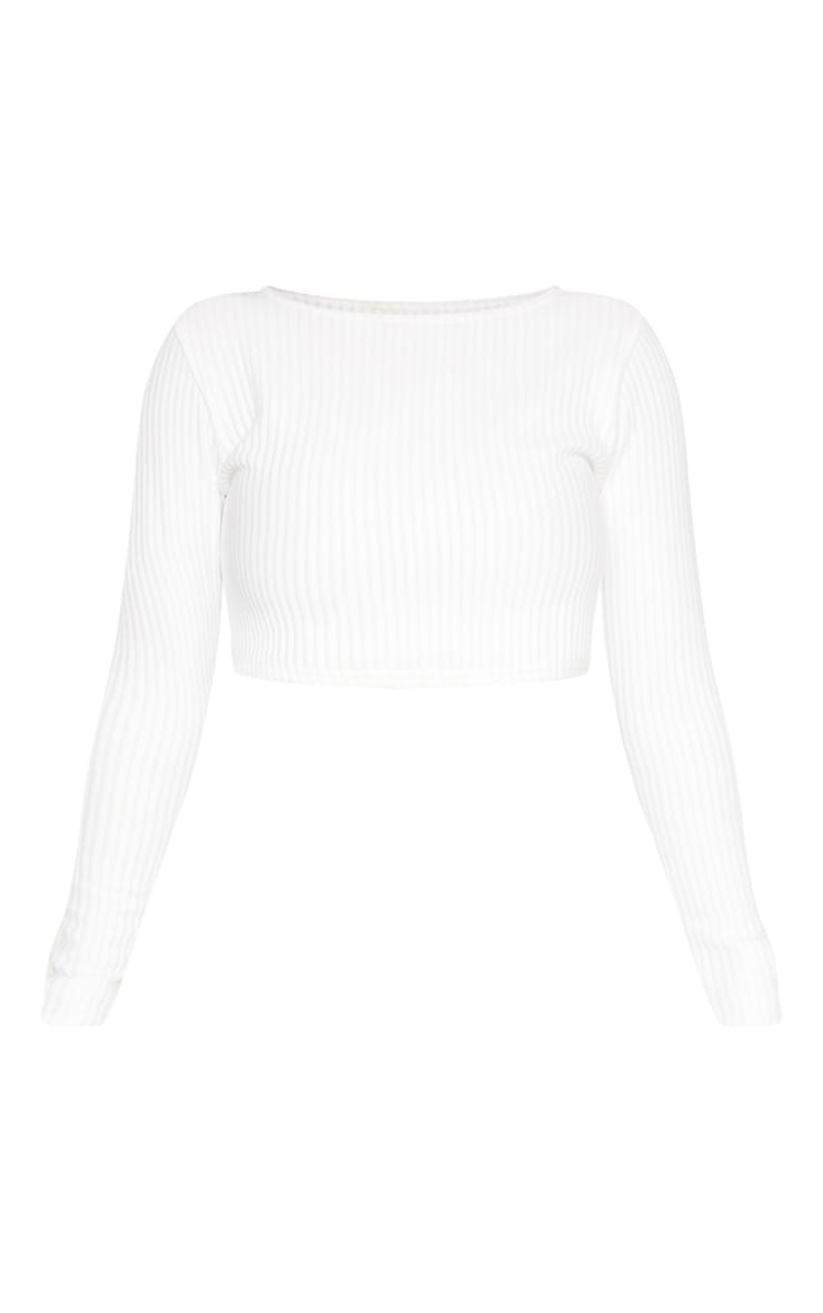 Shape Cream Jumbo Rib Long Sleeve Crop Top 3