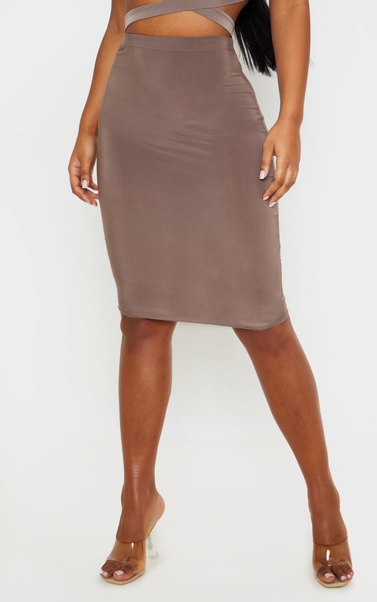 Mocha Slinky Midi Skirt 2