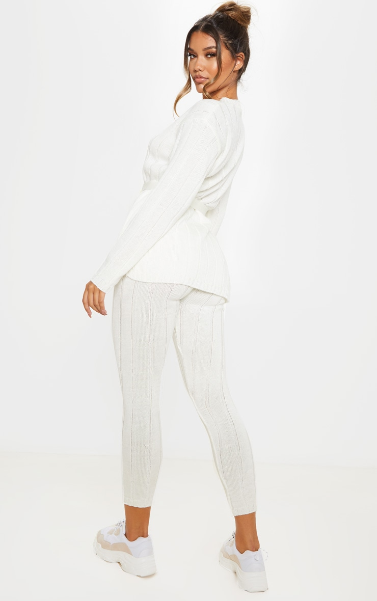 Cream Belted Longline Jumper And Legging Lounge Set 2