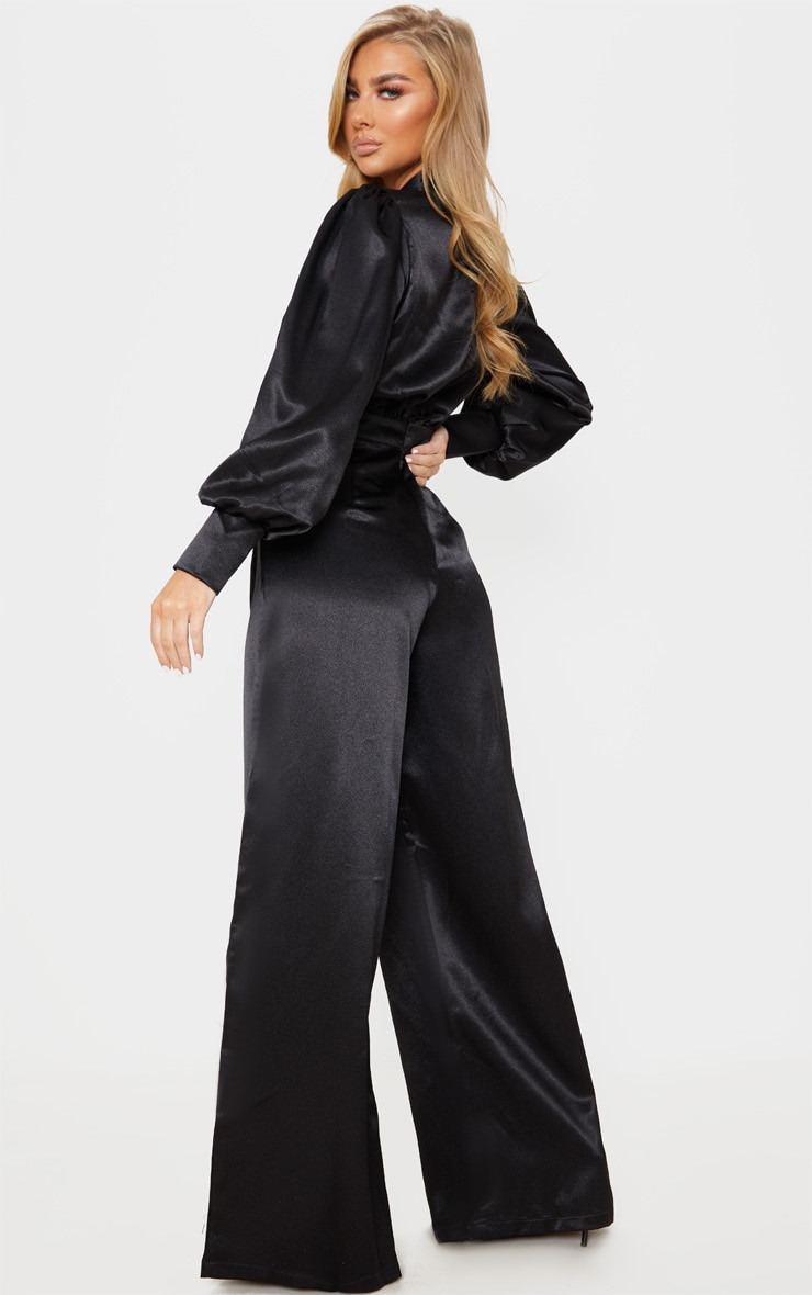 Black Hammered Satin Bow Neck Tie Long Sleeve Jumpsuit 2