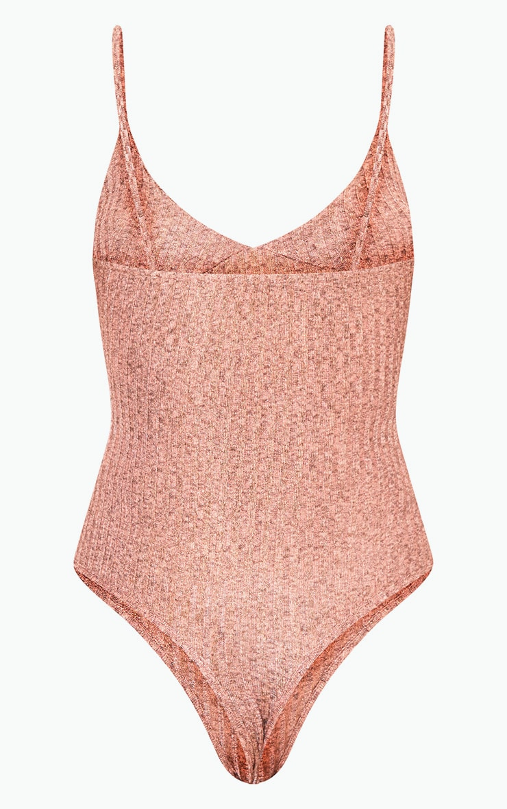 Madellyn Rose Gold Textured Glitter Strappy Thong Bodysuit 4