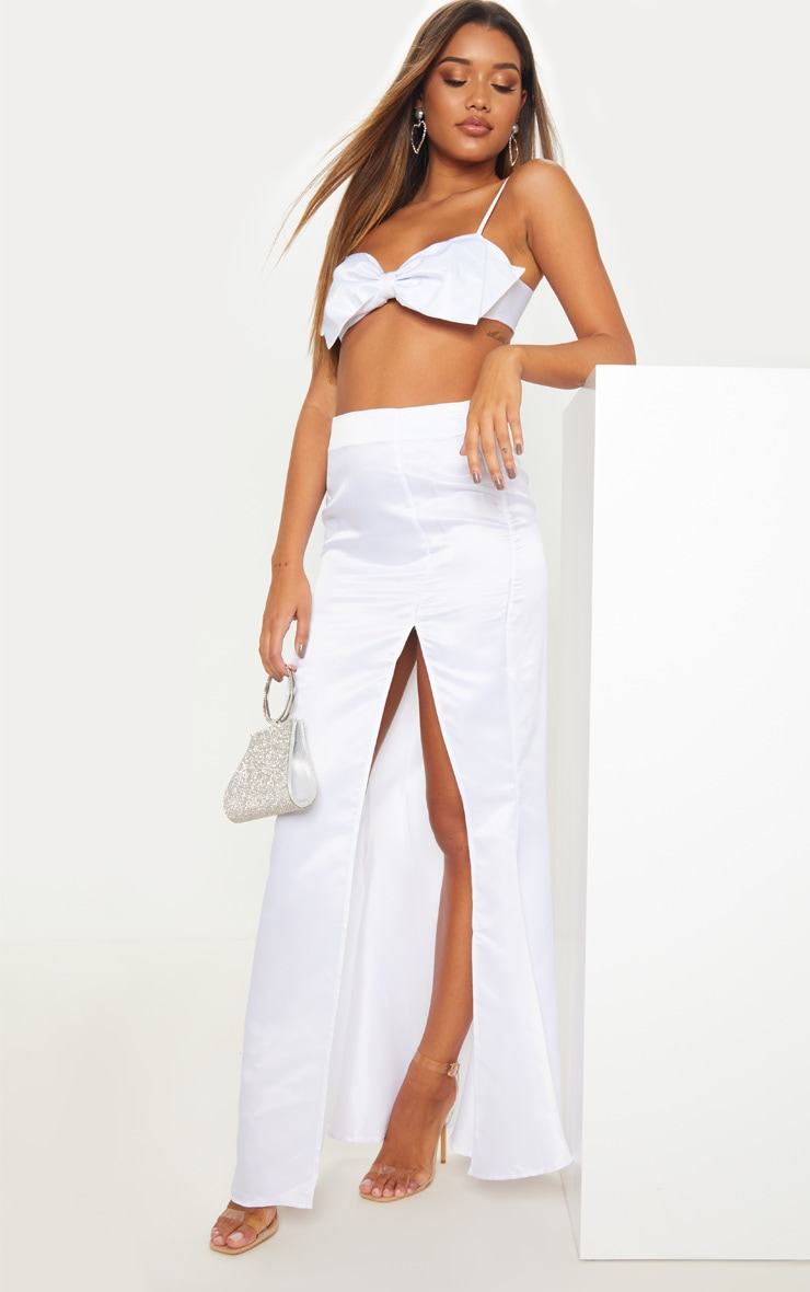 White Woven Bow Front Square Neck Crop Top 4