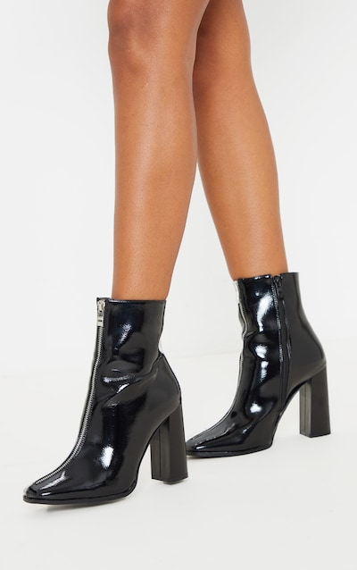 Black Zip Front Block Heel Ankle Boot