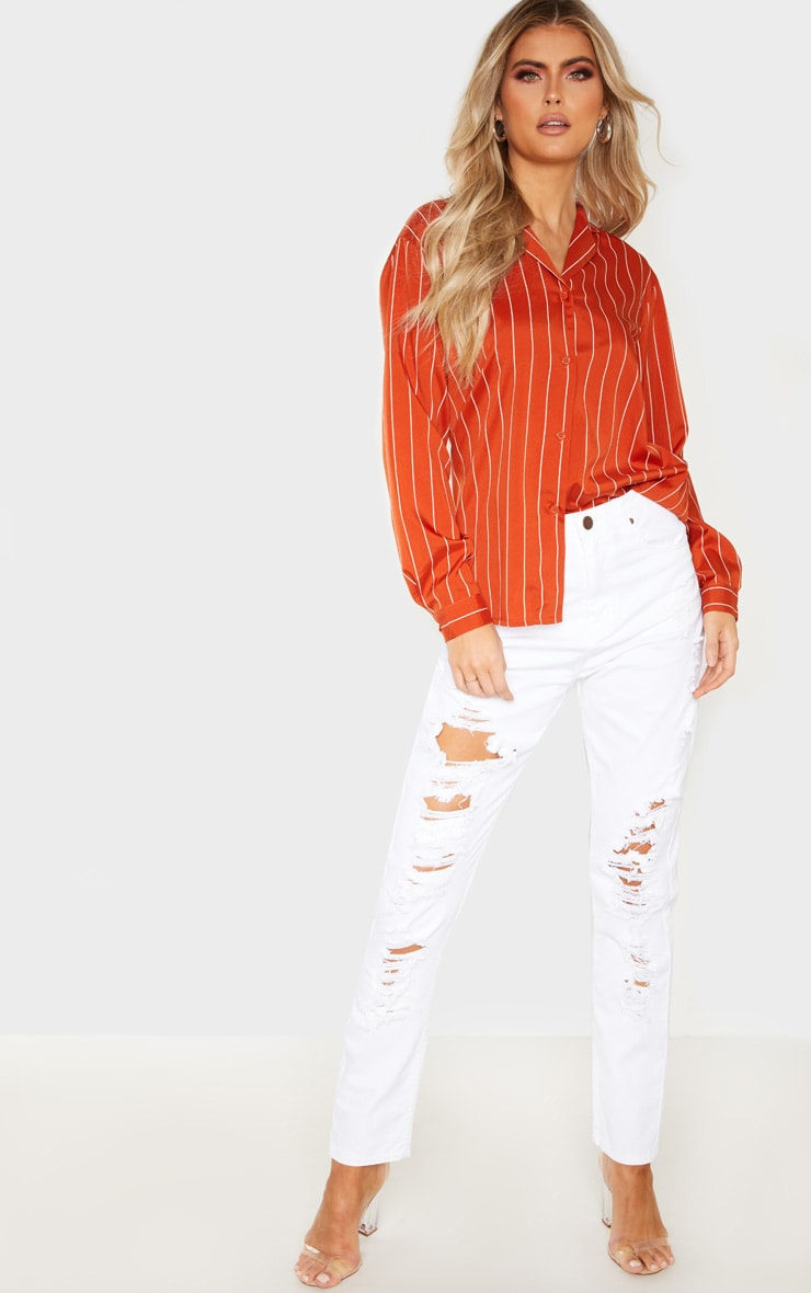 Tall Orange Stripe Print Long Sleeve Shirt 4
