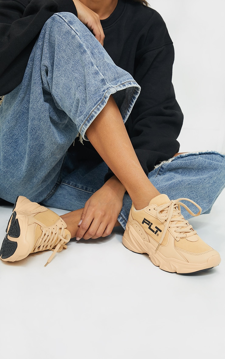 PRETTYLITTLETHING Stone PU Chunky Trainers 1