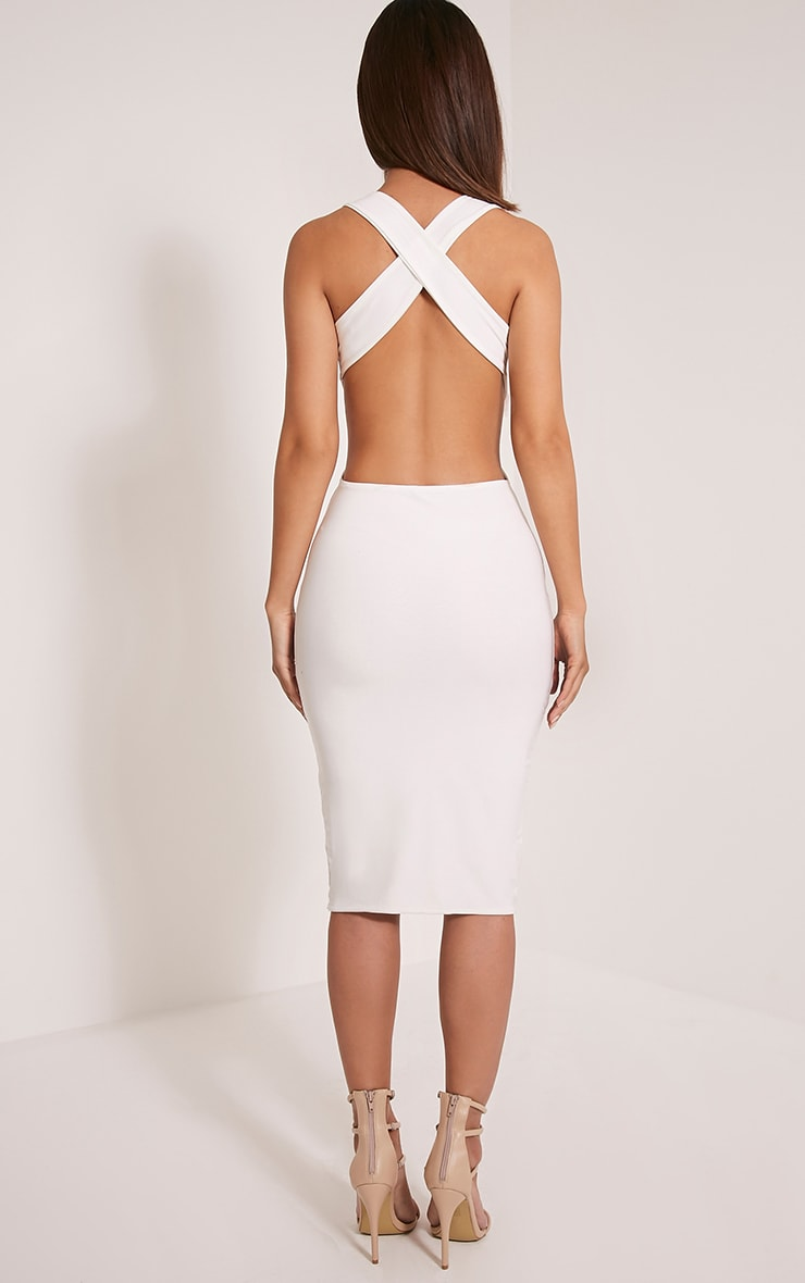 Biddy Cream Deep V Plunge Cross Back Midi Dress 2