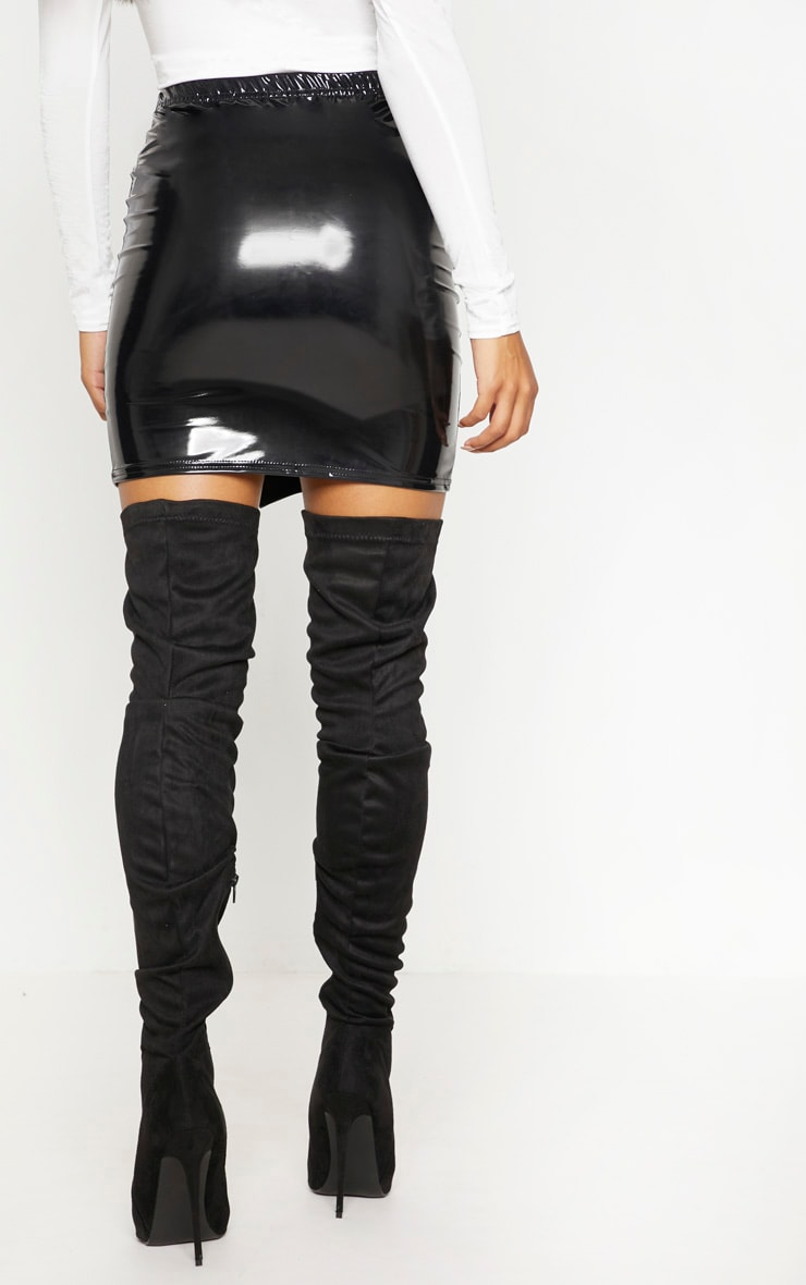 Black Vinyl Side Split Mini Skirt 4
