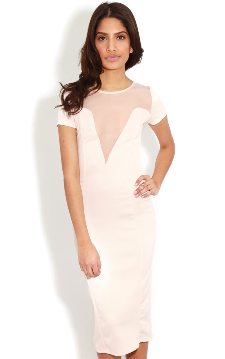 Whitney Pink Mesh Panel Midi Dress 4