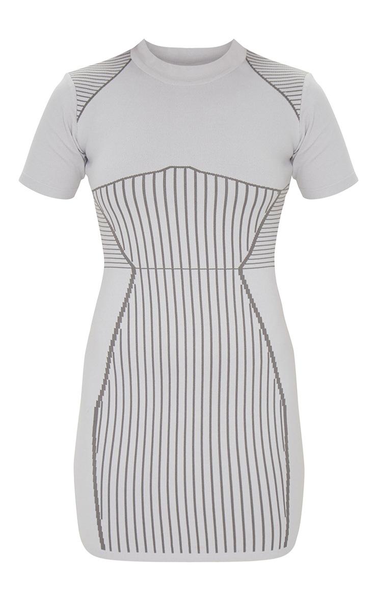Grey Short Sleeve Seamless Knit Bodycon Dress 5