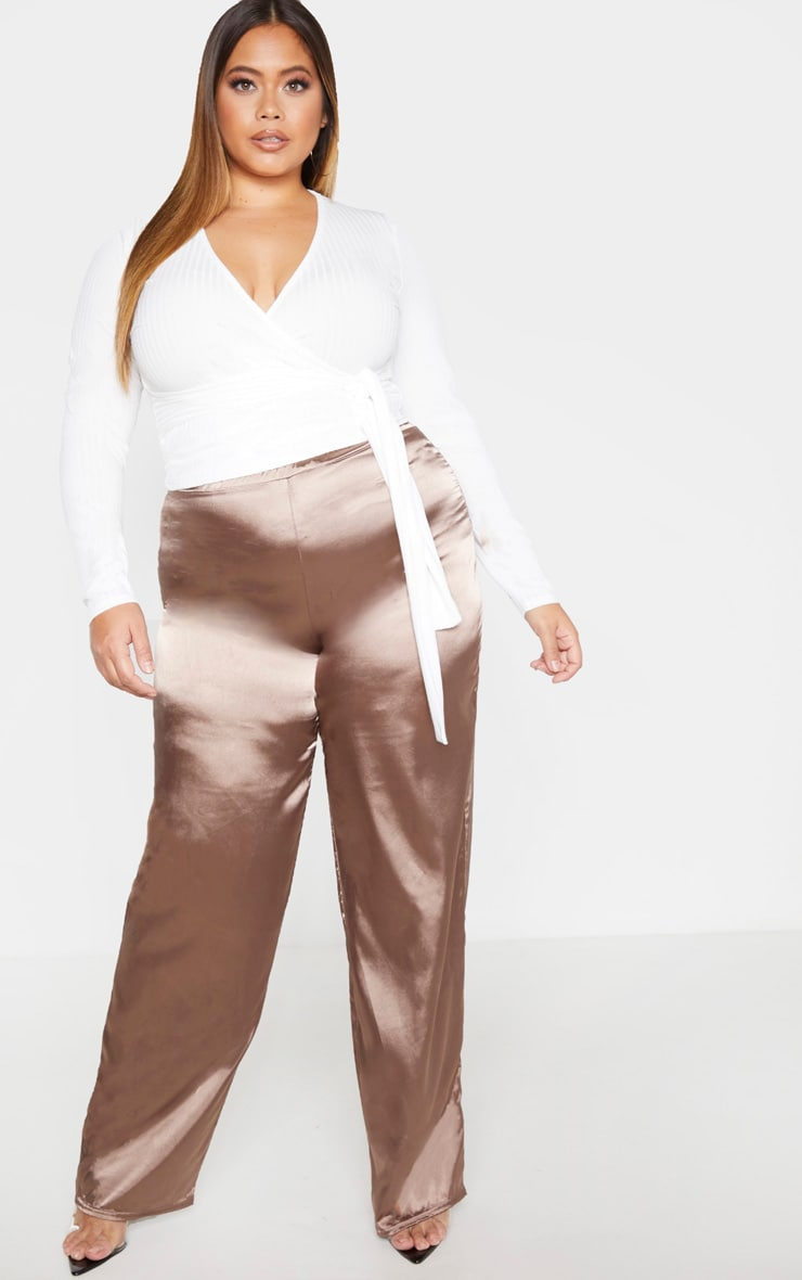 Plus Cream Ribbed Long Sleeve Tie Waist Crop Top 4