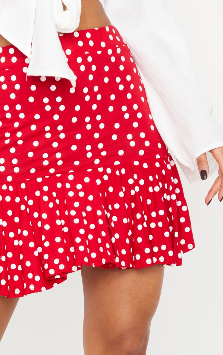 Red Polka Dot Frill Hem Mini Skirt 5