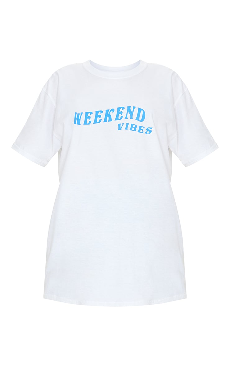 White Weekend Vibes Printed Washed T Shirt 5