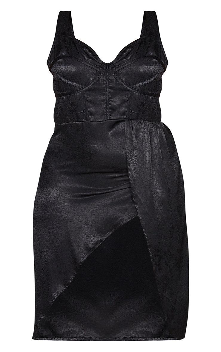 Plus Black Corset Detail Wrap Midi Dress 5