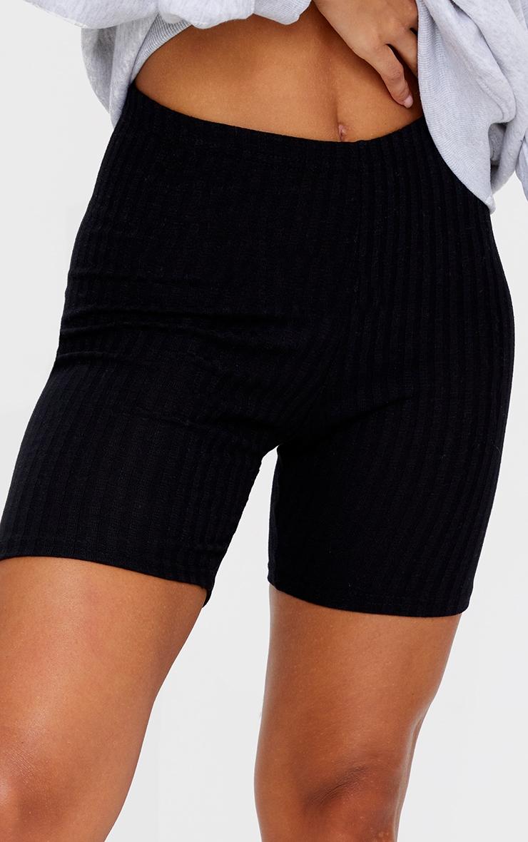 Black Ribbed Biker Shorts 5